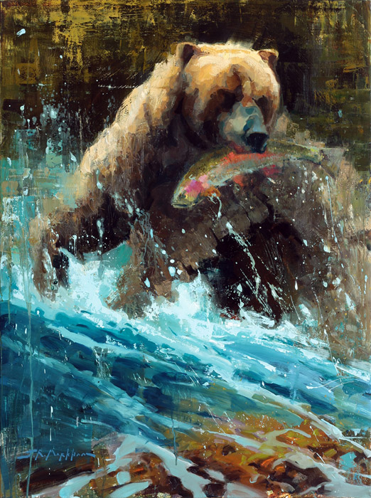 Caught In The Act - painting of grizzly bear by artist Jerry Markham