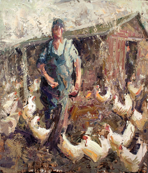 Chaotic Coop - Painting of chicken farmer by Jerry Markham