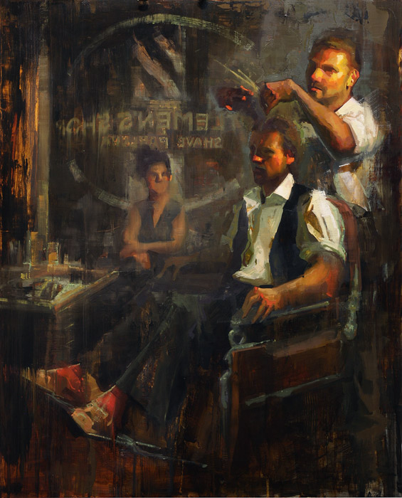 Classic Gentlemen - Painting of barbers by Jerry Markham