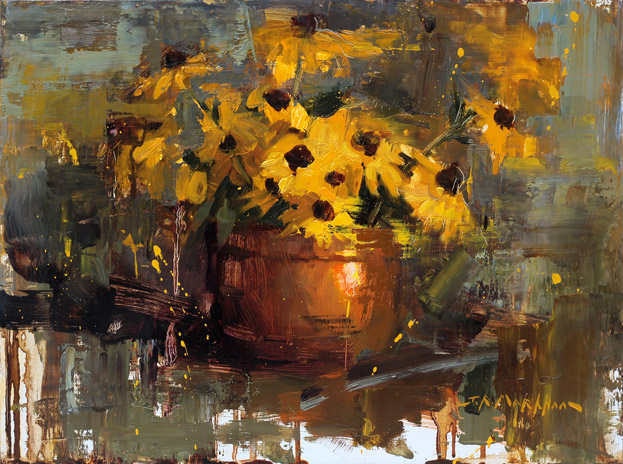Copper & Gold - painting of yellow flowers by Jerry Markham