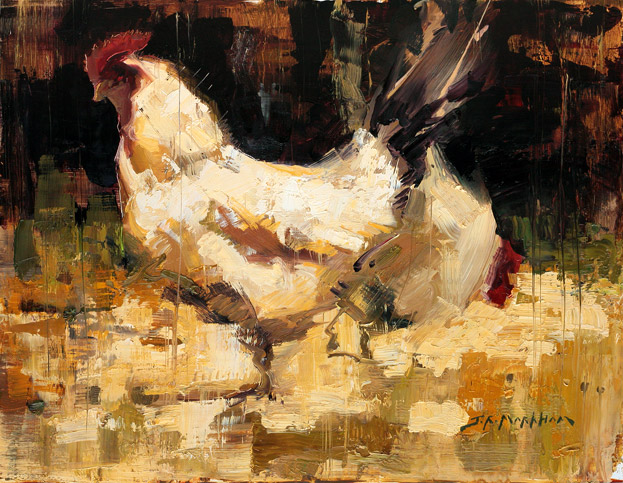 Henny and Penny - painting of chickens by Jerry Markham