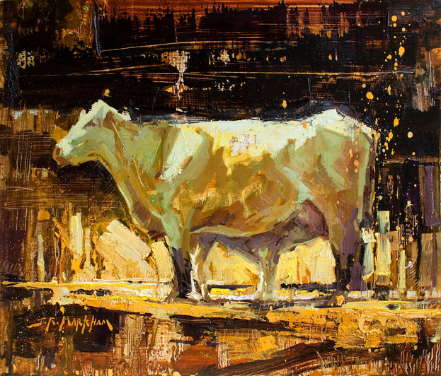 Motherhood - Painting of cows by Jerry Markham