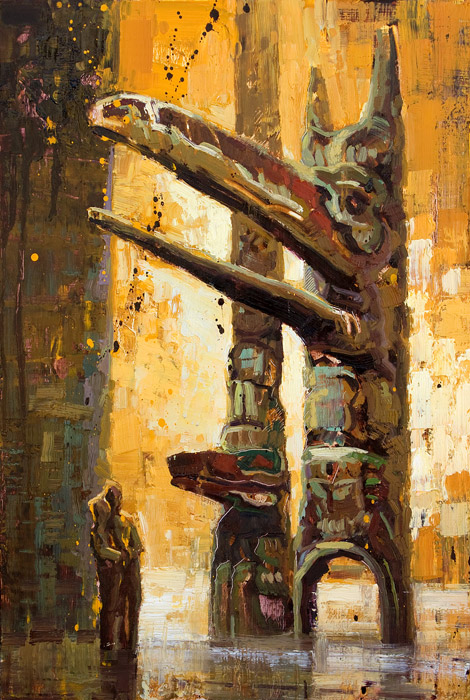 Peering Into The Past - Painting of totem poles by Jerry Markham
