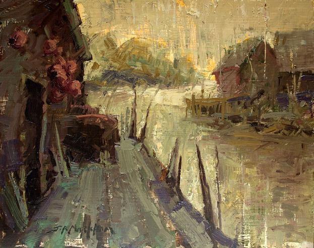 Coastal Village - Painting by Jerry Markham