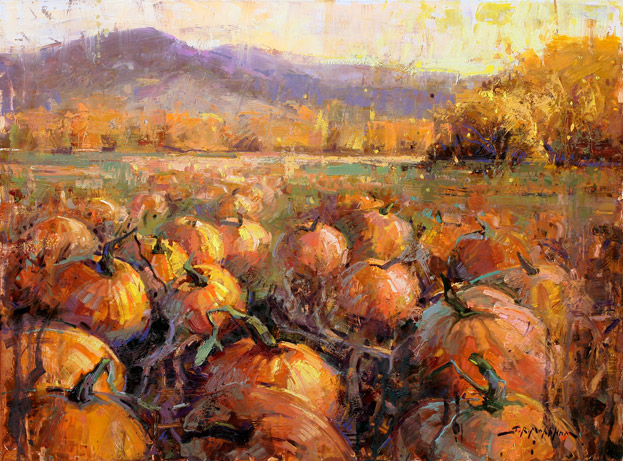 Pudding and Pie - painting of pumpkin patch by Jerry Markham