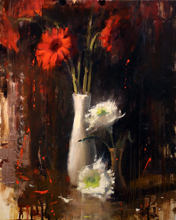 Red and White Arrangement - floral painting by Jerry Markham