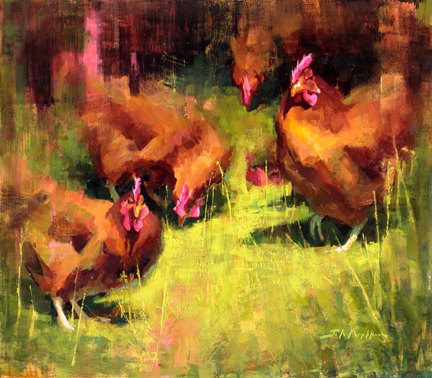 Scratchin' & Peckin' - painting of chickens by artist Jerry Markham