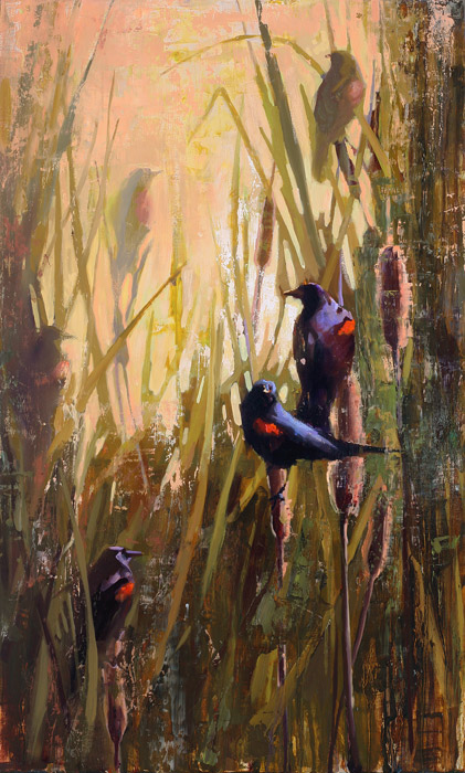 Song of the Red-Winged Black Bird - painting by Jerry Markham