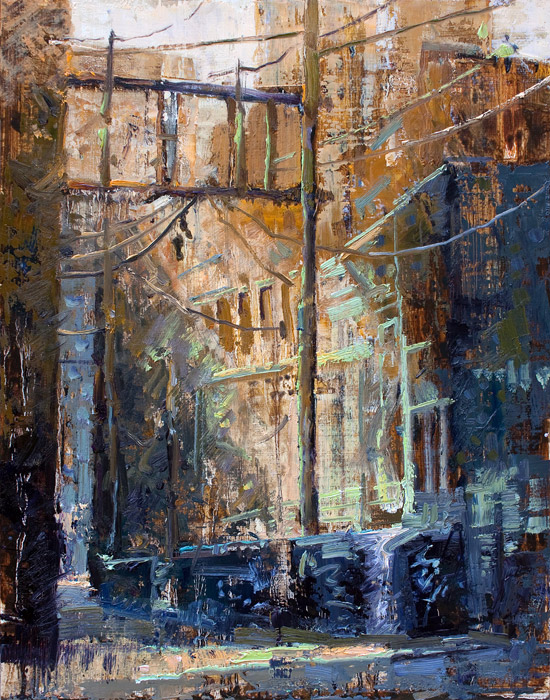 Suspended Sneakers - Painting of back alley from Vancouver by Jerry Markham
