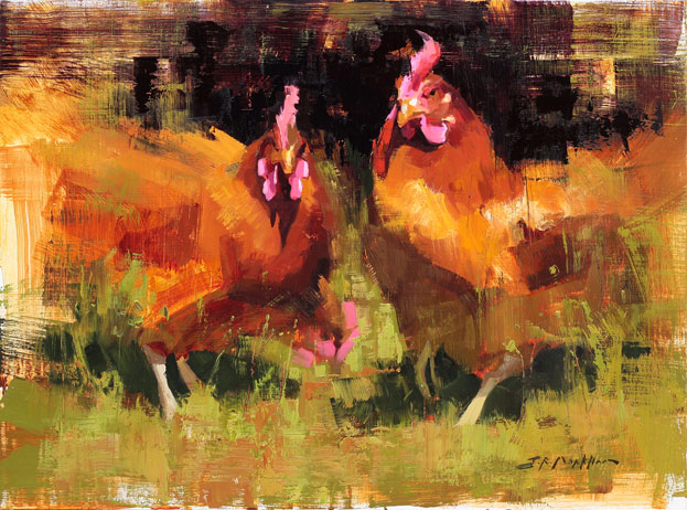 The Trio - painting of chickens by Jerry Markham
