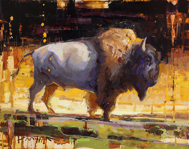 Western Icon - painting of buffalo by Jerry Markham
