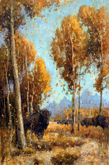Autumn Shroud - Painting of Buffalo in fall landscape scene by Jerry Markham