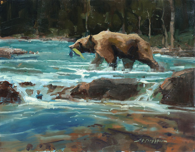Fresh Catch - painting of a grizzly bear by Jerry Markham