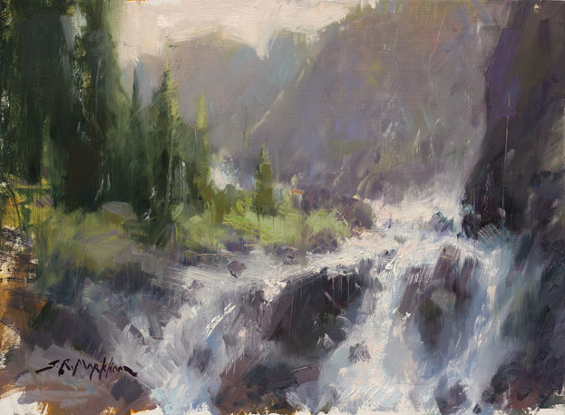 Glacier Fresh - Oil painting of a river running through the Rocky Mountains by Jerry Markham