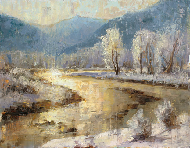 Golden Frost - painting of a river at sunset by Jerry Markham