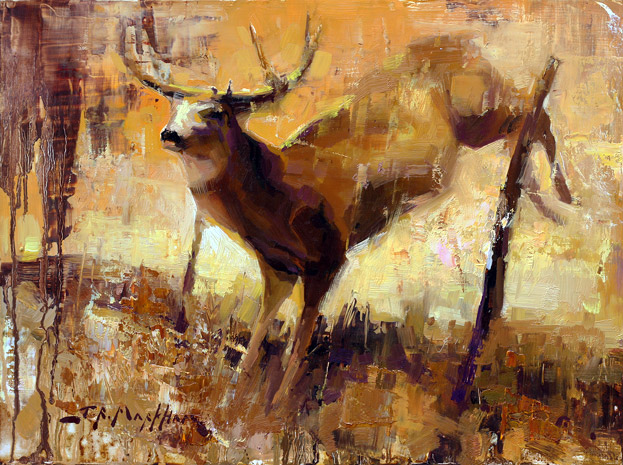 Painting of a deer jumping over a fence by Jerry Markham - www.jerrymarkham.com