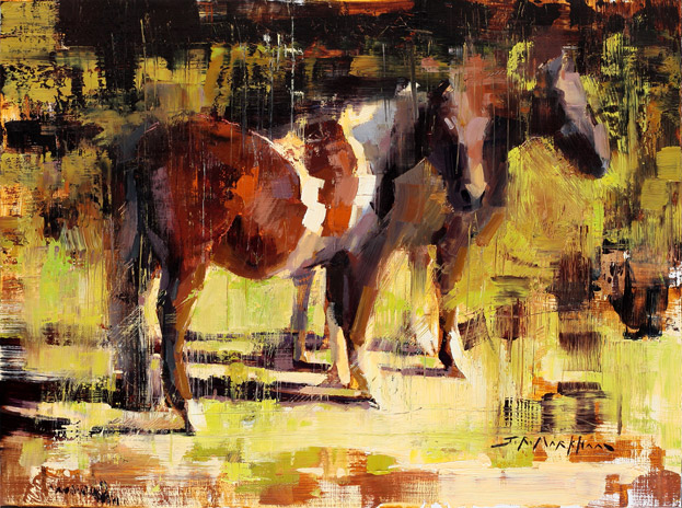 Painted Ponies - painting of horses by artist Jerry Markham