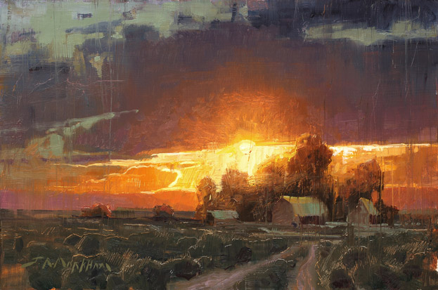 Prairie Dusk - Farm scene at sunset painting by Jerry Markham