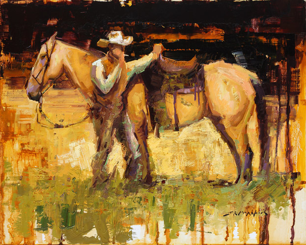 Rest Stop - Painting of cowboy by Jerry Markham