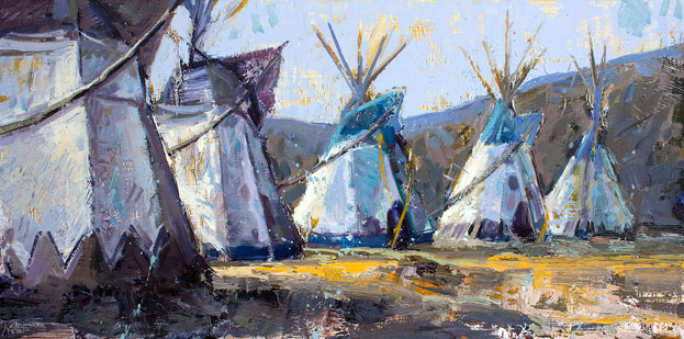 Shapes Of History - Oil painting of teepees by Jerry Markham