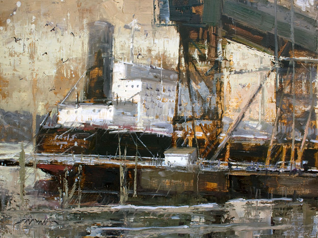 Ship Shape - Painting of boats at Vancouver Harbour by Jerry Markham