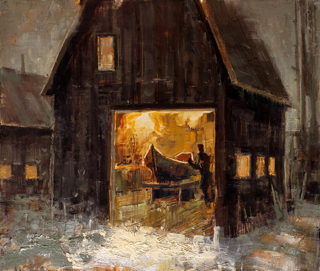 The Boat Builder - painting by Jerry Markham