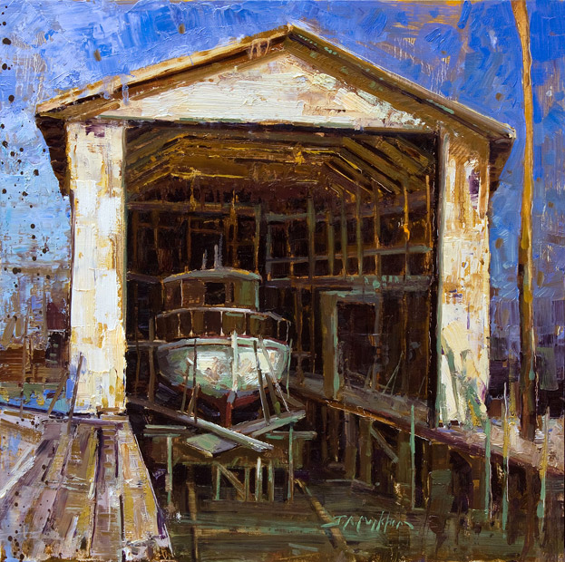 Boat Builder and Restoration - Painting by Jerry Markham