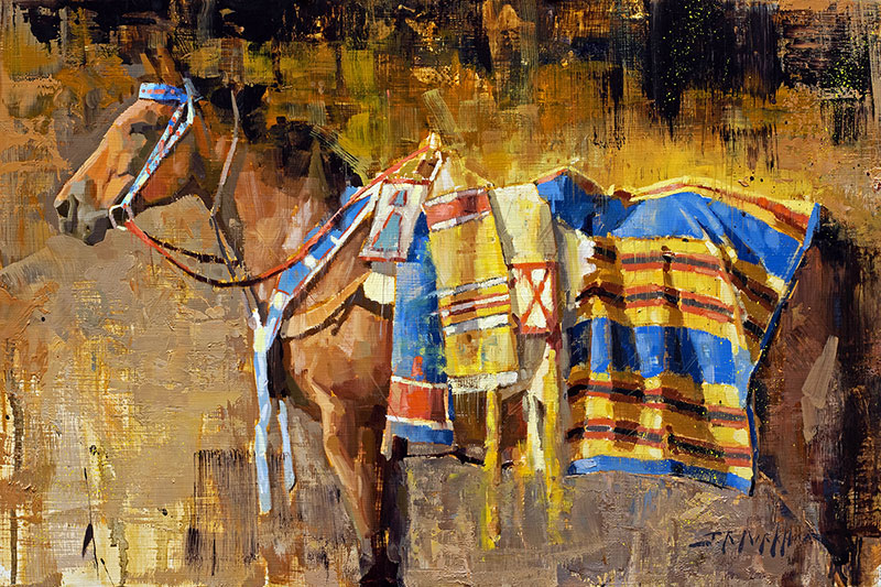 All Dressed Up and Nowhere To Go - painting of chestnut horse with colorful blankets by artist Jerry Markham