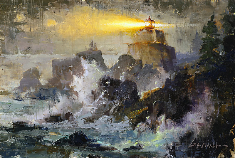 Amphitrite Point - lighthouse painting by Jerry Markham