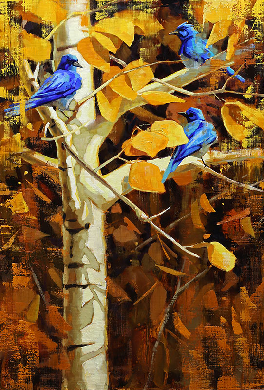 Autumn Bluebirds - painting of bluebirds in autumn trees by artist Jerry Markham