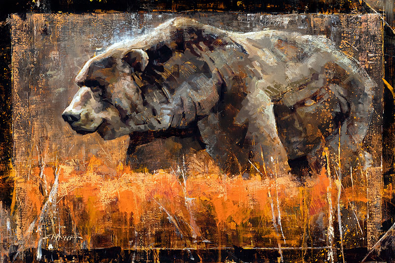 Autumn Brute - Grizzly bear painting by Jerry Markham artist