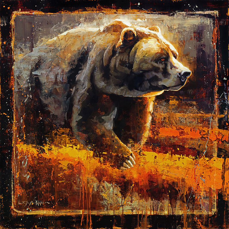 Autumn Giant - grizzly bear painting by Jerry Markham artist
