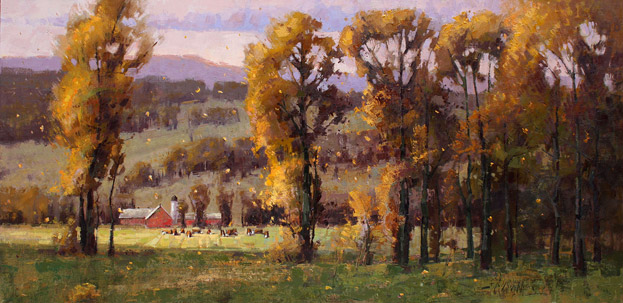 Autumn Glory - Oil painting of a farm by Jerry Markham