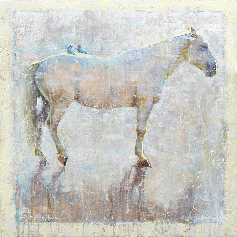 Back Talk - painting of a white horse with blue birds by Jerry Markham artist