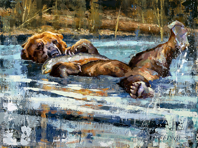 Bear Necessities - grizzly bear painting by Jerry Markham artist