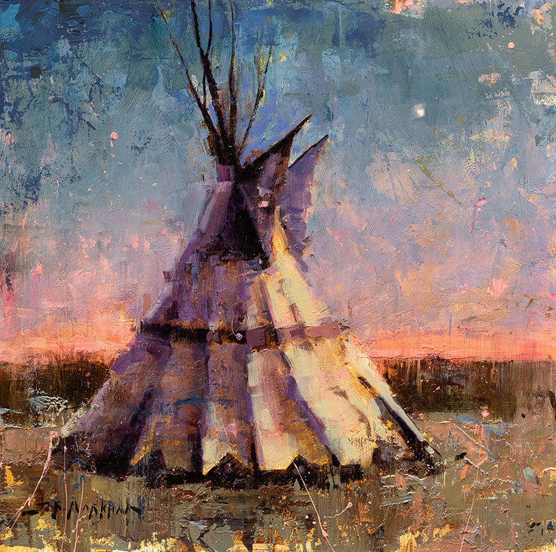 Before the Dawn - tipi painting by Jerry Markham artist