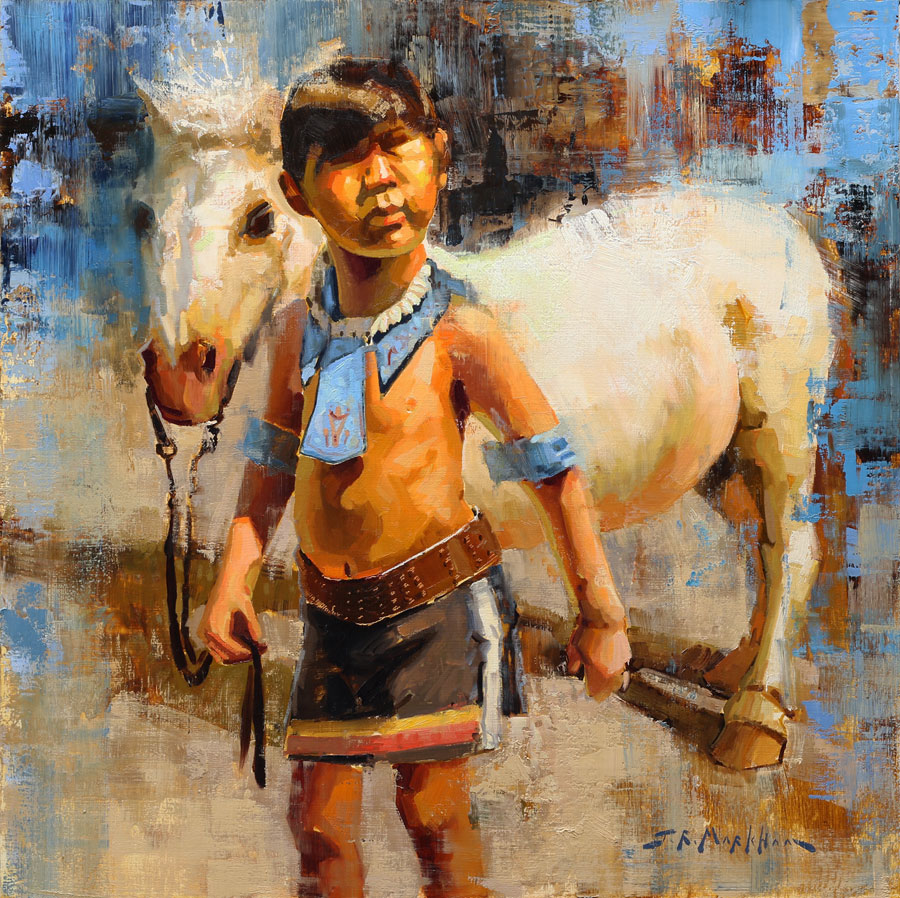Best Buds - painting of a boy with his pony by Jerry Markham