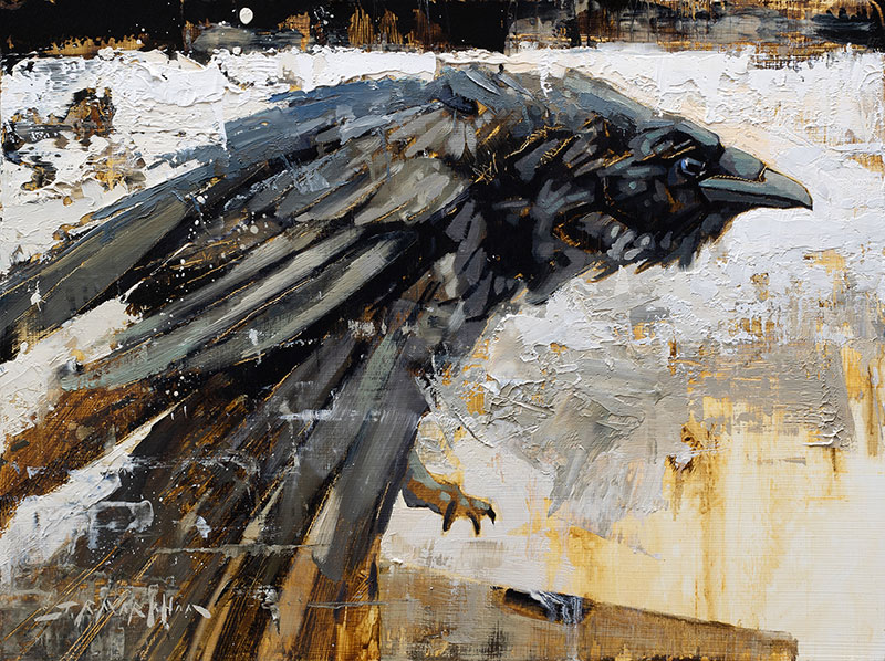 Brace For Impact - raven painting by Jerry Markham artist