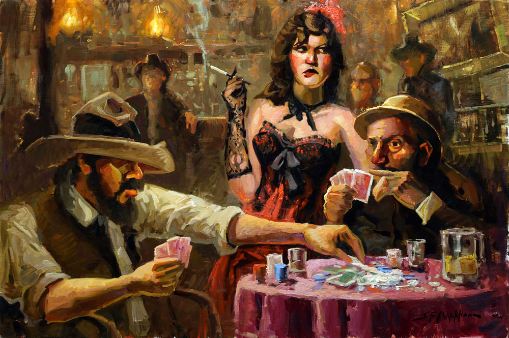 Calling His Bluff - old west saloon painting by Jerry Markham