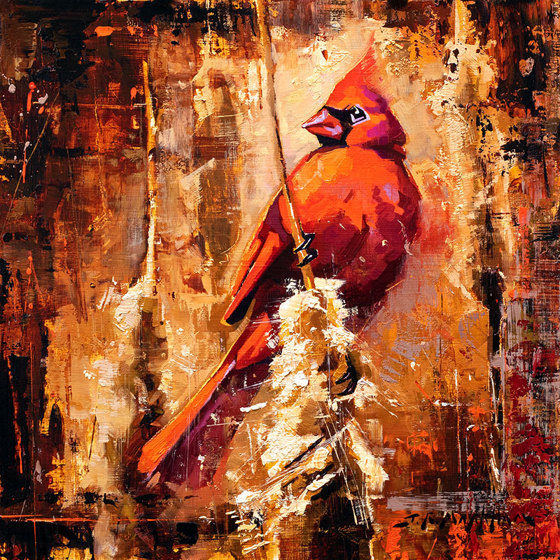 Cardinal and Cattails - cardinal painting by Jerry Markham artist