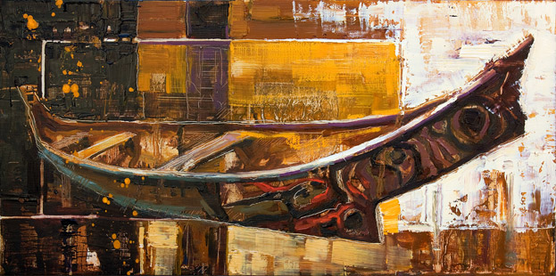 Carving Out A Culture - Oil painting of a canoe by Jerry Markham