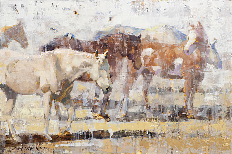 Casual Friday - Painting of horses by Jerry Markham artist