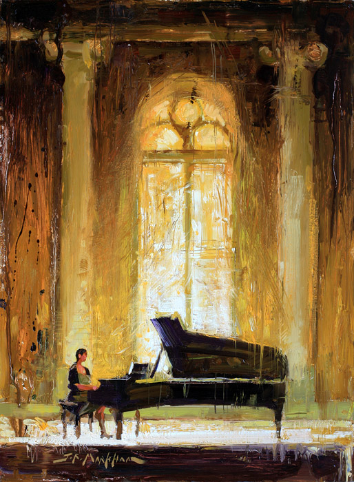 Composition In Yellow - Painting of piano player by Jerry Markham