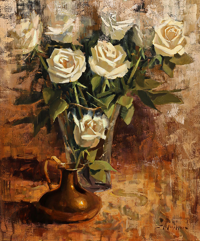 Copper Jug with Roses - painting of white roses by artist Jerry Markham