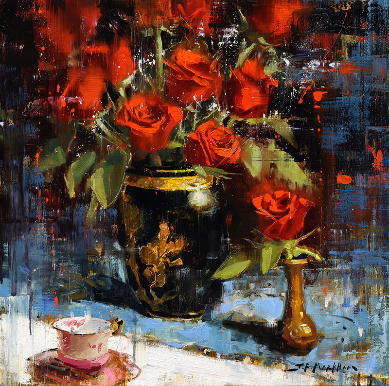 Crimson Floral - painting of red roses by Jerry Markham artist