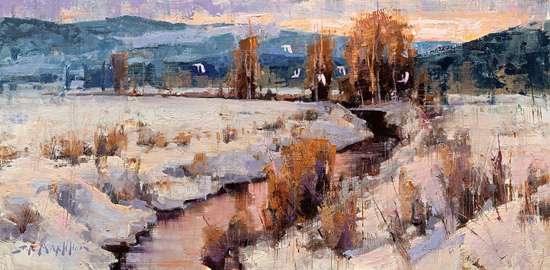 Dawn Over Willow Brook - winter landscape by artist Jerry Markham