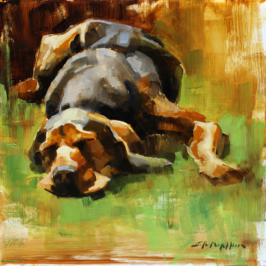 Dog Daze - painting of a dog sleeping by Jerry Markham