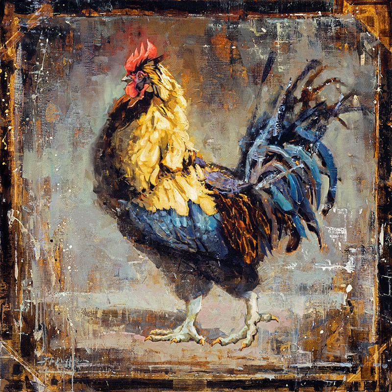 Dressed To Impress - painting of a rooster by Jerry Markham artist