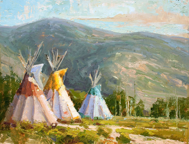Early Inhabitants - Oil painting of teepees by Jerry Markham