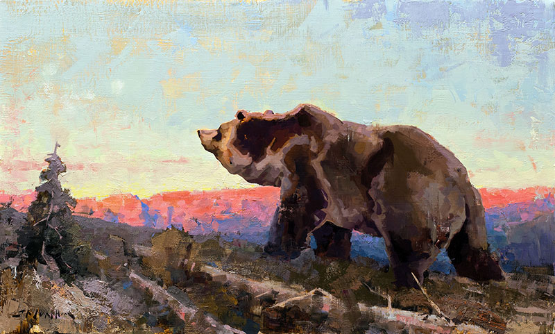 Early Riser - grizzly bear painting by Jerry Markham artist